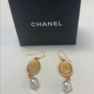 Chanel Gold and Pearl Earrings